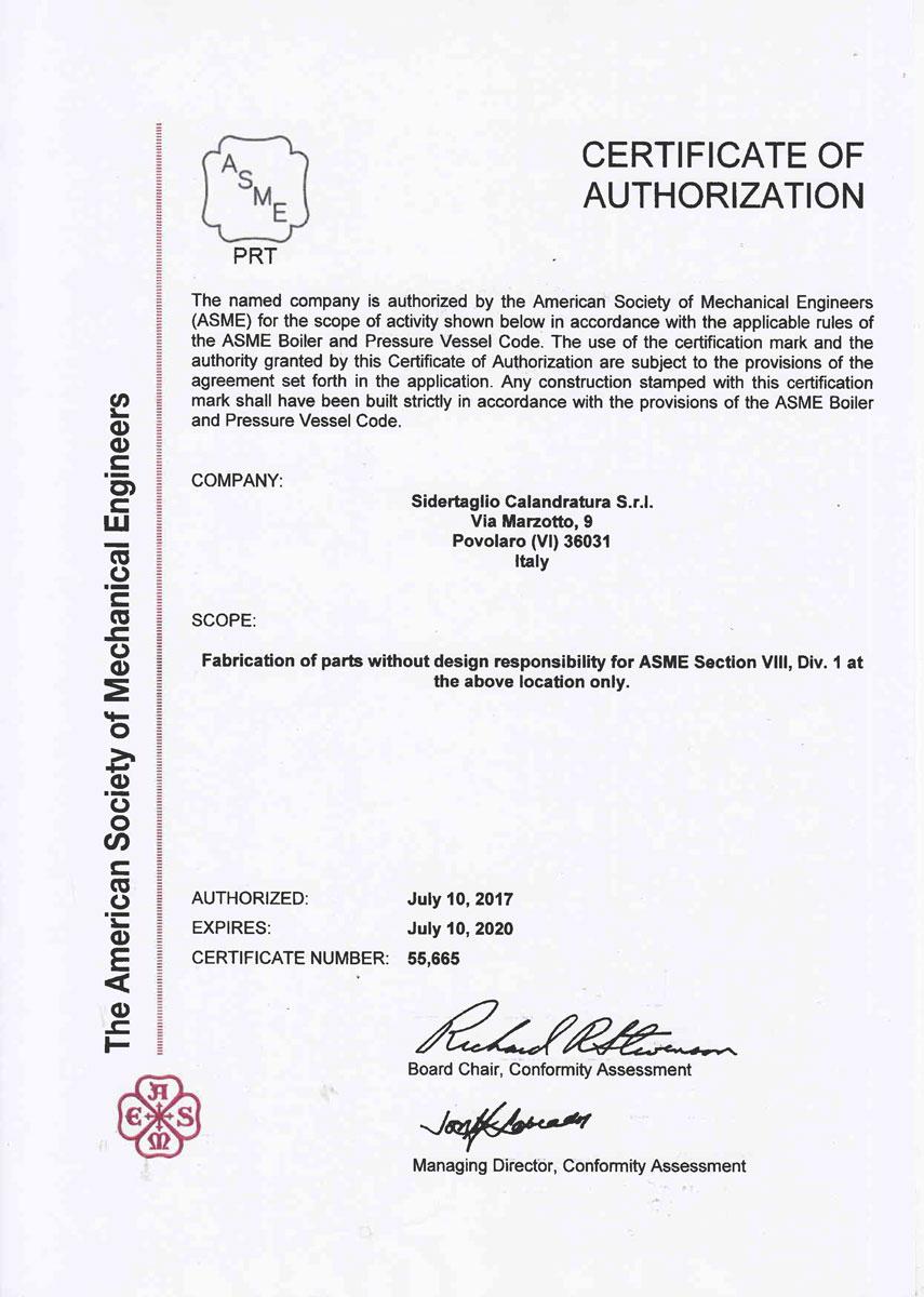 Certifications - Sidertaglio Calandratura